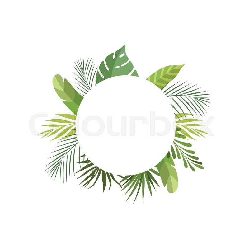 Tropical Leaves Frame With Space For Stock Vector Colourbox Acrylic painting of tropical leaves on black card stock paper. tropical leaves frame with space for