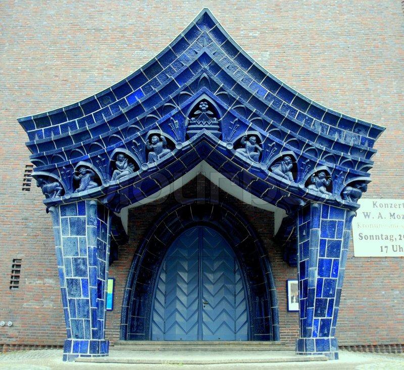 Strange Blue Church sculptures, stock photo