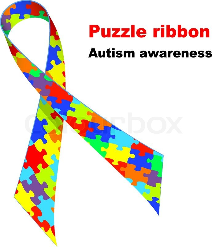 Puzzle Ribbon Autism Awareness Symbol Stock Vector Colourbox