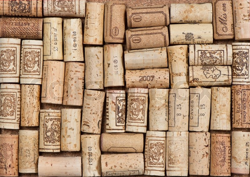 Vintage used wine corks background | Stock Photo | Colourbox