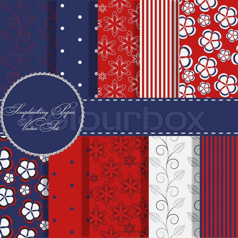 Set Of Beaautiful Vector Red And Blue Paper For Scrapbook Stock