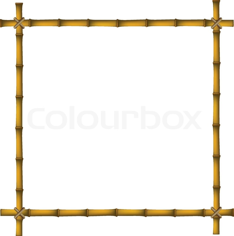 Wooden frame of old bamboo sticks   Stock Vector   Colourbox