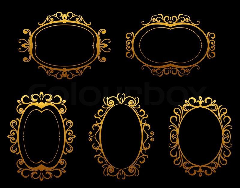 Satz von golden Vintage Frames und Grenzen im viktorianischen Stil ...