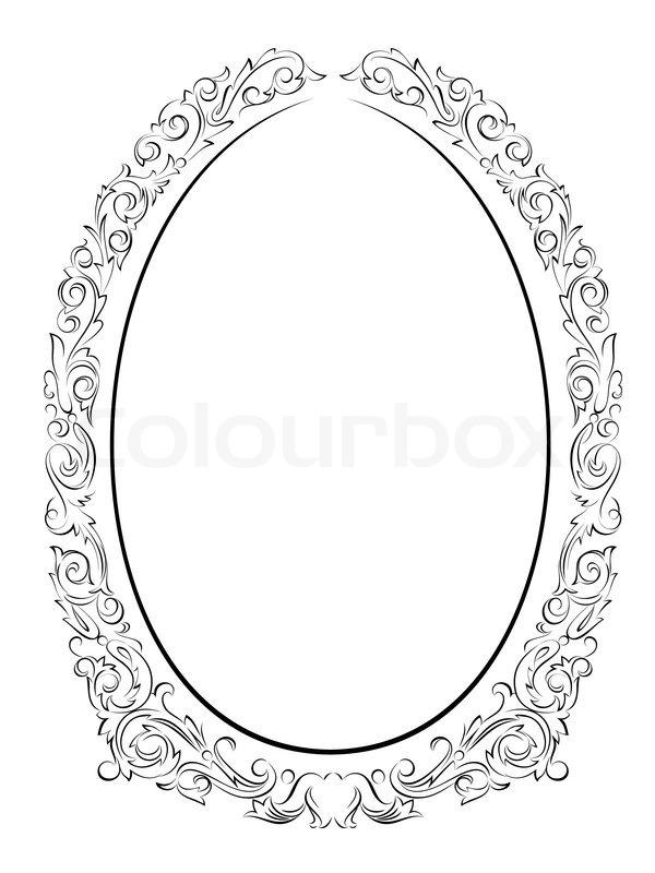 Calligraphy penmanship oval baroque frame black | Stock Vector ...