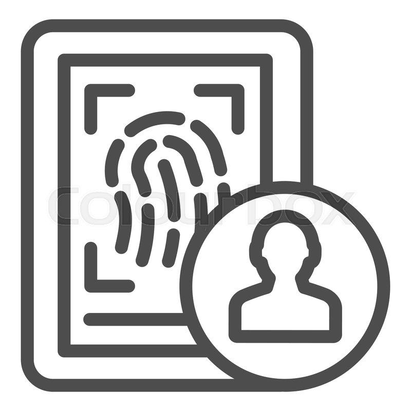 fingerprint line icon identity vector stock vector colourbox fingerprint line icon identity vector