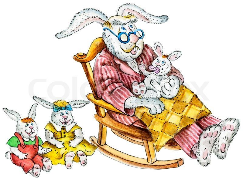 Cartoon Illustration Of A Cute Rabbit Family Grandpa And
