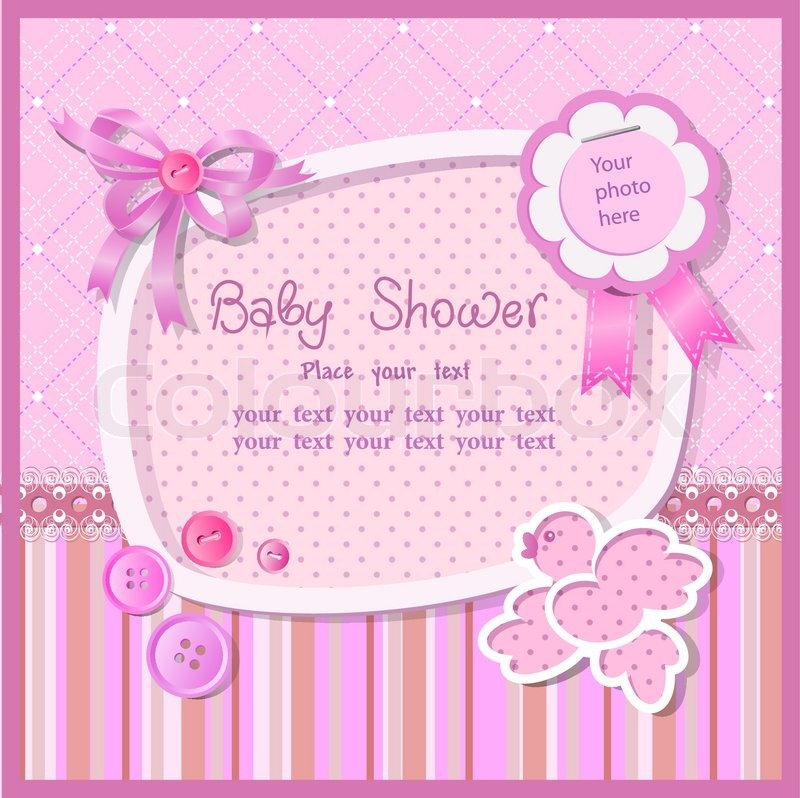 Baby Shower For Girl With Scrapbook Elements In Pink Tones Stock