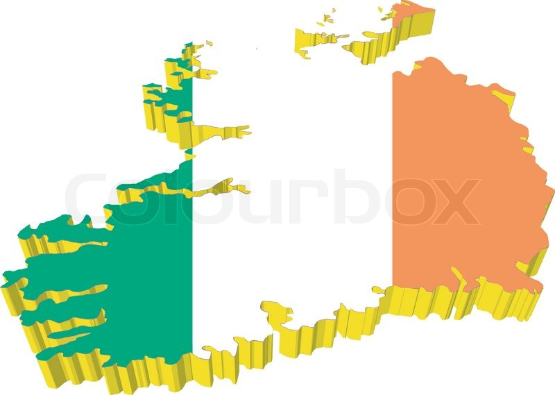Map Of Ireland 3d.Vectors 3d Map Of Ireland Stock Vector Colourbox