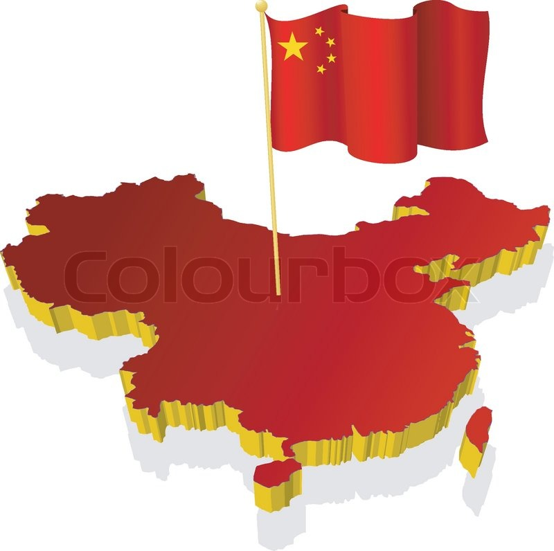 Threedimensional image map of China with the national flag