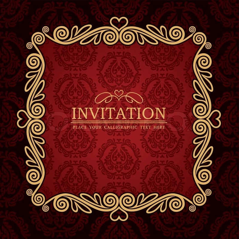 Abstract Background With Antique Vintage Frame Red