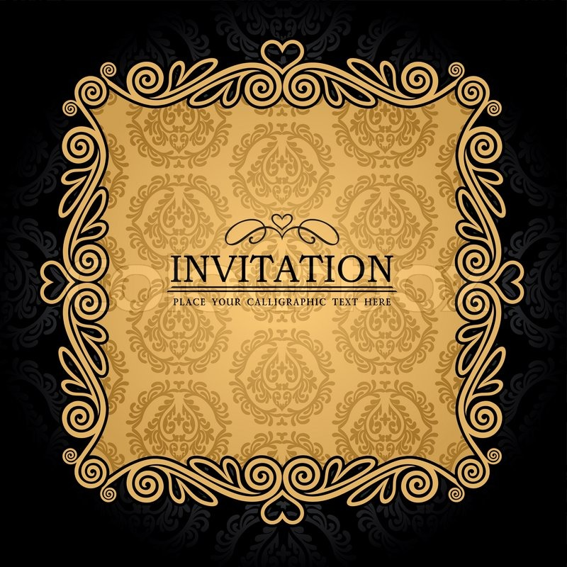 Frame design for wedding invitation vector border in victorian style - Abstract Background With Antique Vintage Frame Black