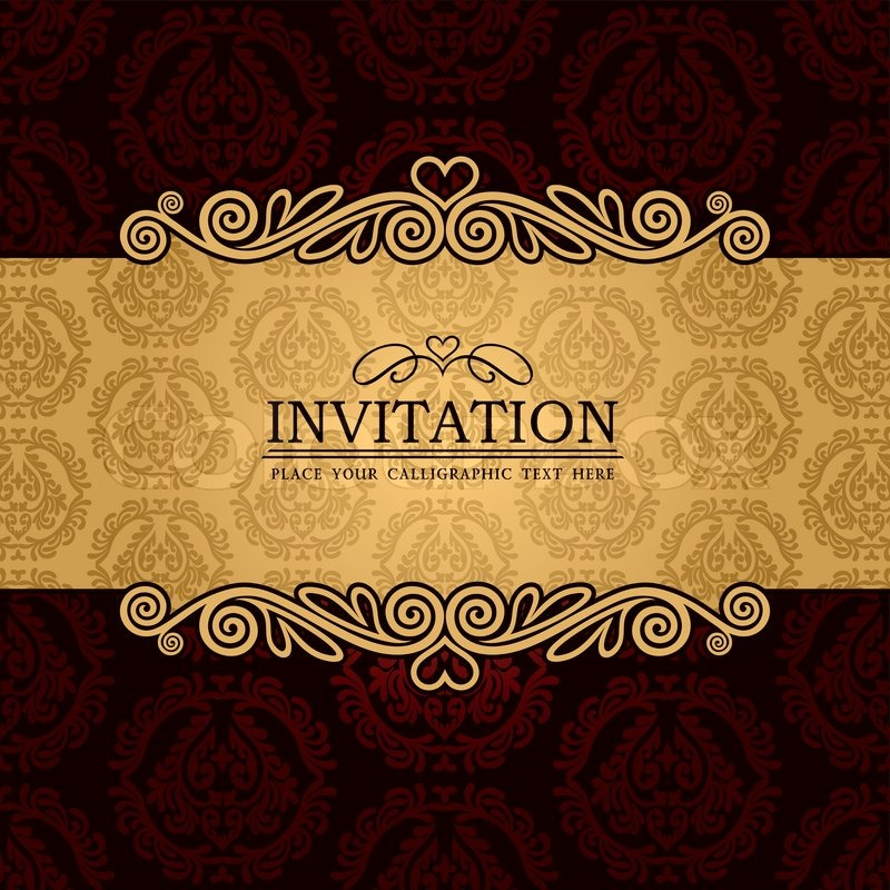 Abstract background with antique vintage frame and banner red abstract background with antique vintage frame and banner red damask wallpaper with ornamental gold invitation card baroque style label fashion pattern stopboris Choice Image