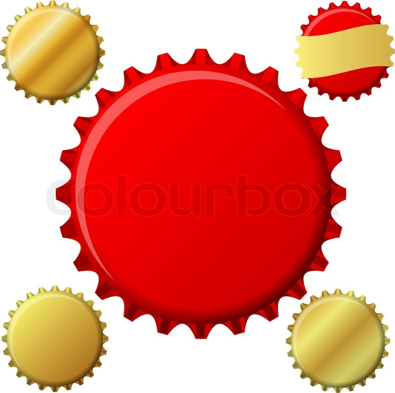 bottle cap set in red and gold stock vector colourbox rh colourbox com bottle cap vector art heineken bottle cap vector