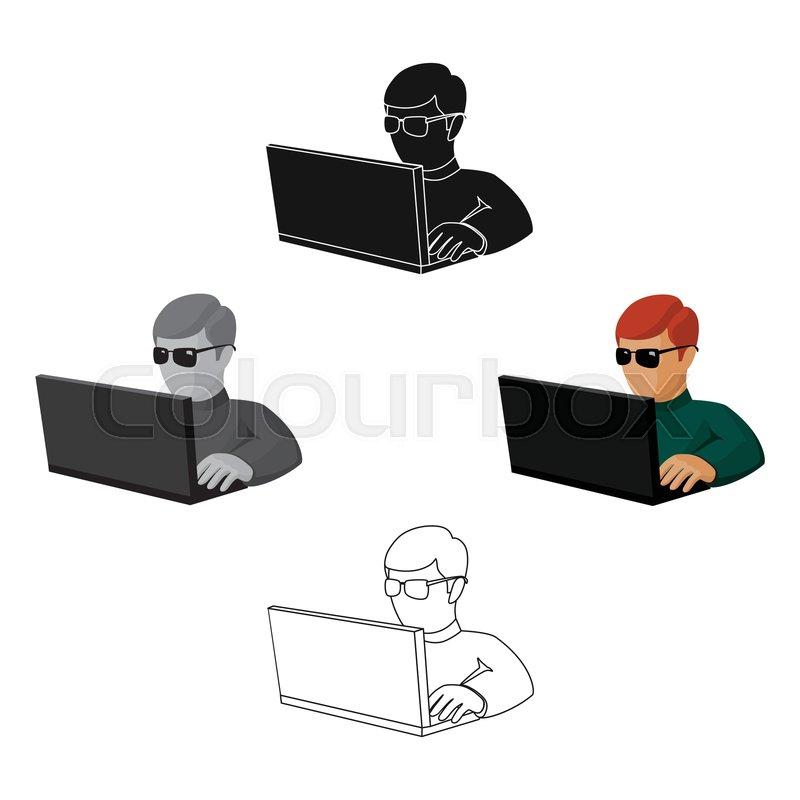 Computer Hacker Icon In Cartoon Black Stock Vector Colourbox