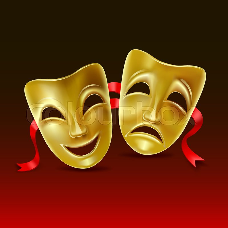 Theater Masks On A Red Background Stock Vector Colourbox See more ideas about drama masks, theatre masks, mask tattoo. theater masks on a red background