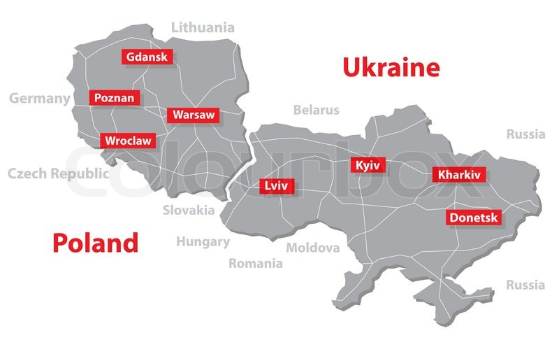 Euro 2012 host countries map Poland and Ukraine Separate ...