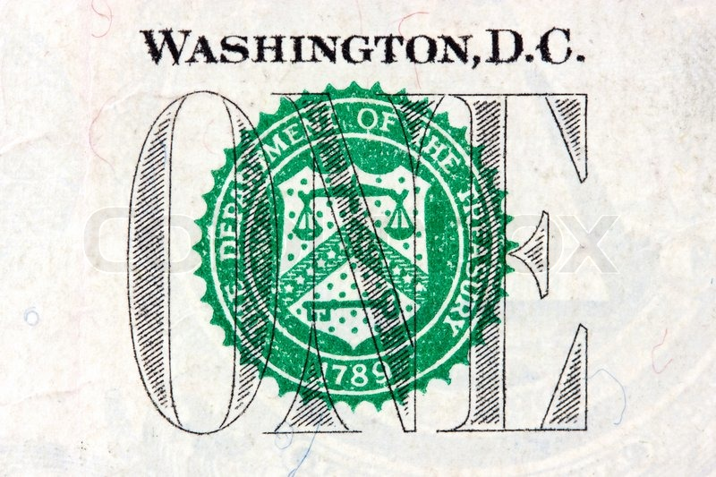 Macro Us One Dollar Bill Treasury Seal Stock Photo Colourbox