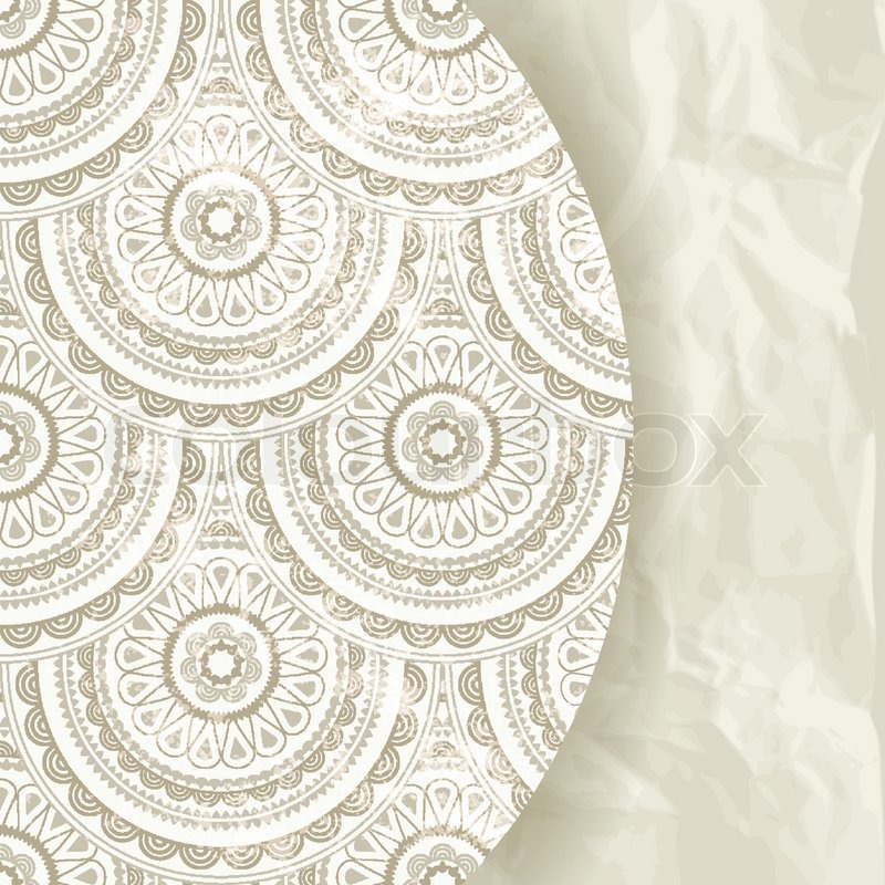 Vector Retro Background Eastern Pattern And Crumpled