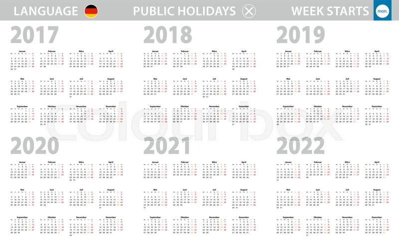 Calendar Weeks 2022.Calendar In German Language For Year Stock Vector Colourbox