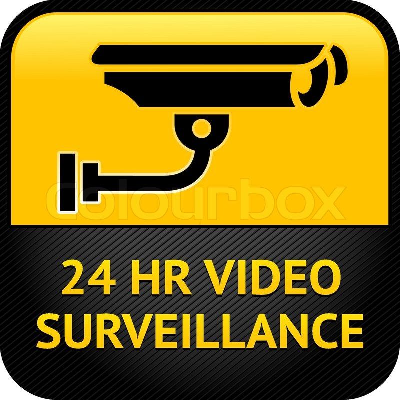 Video Surveillance Sign Cctv Sticker Stock Vector