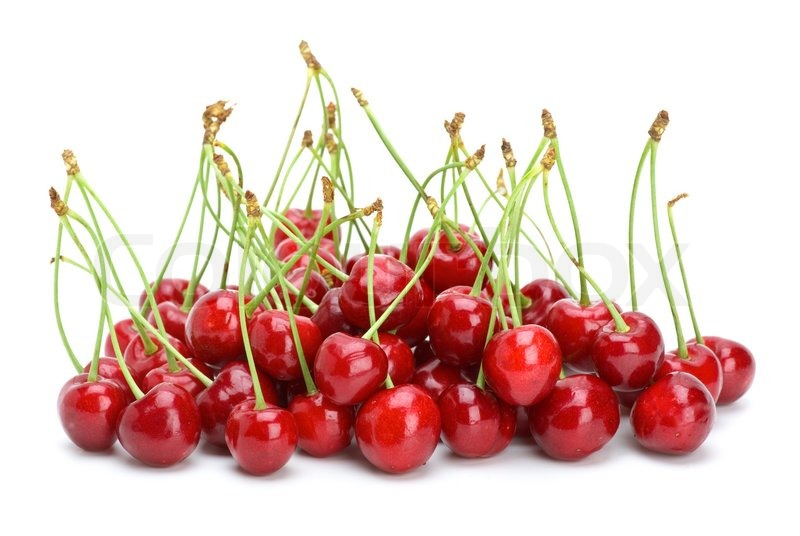 small pile of red cherries with stalks stock photo colourbox