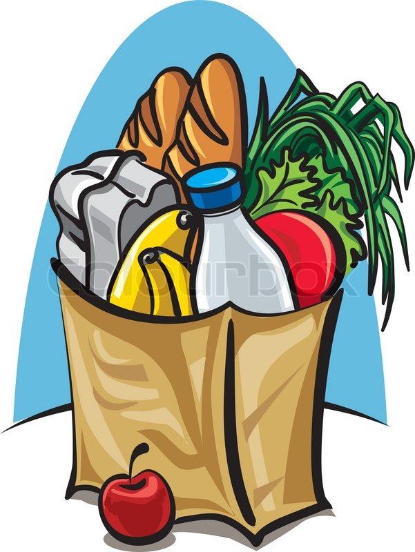 Einkaufstasche mit Essen | Stock-Vektor | Colourbox