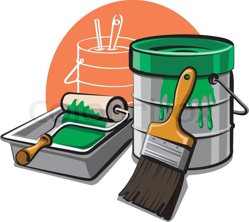 Paint bucket and brush | Stock Vector | Colourbox