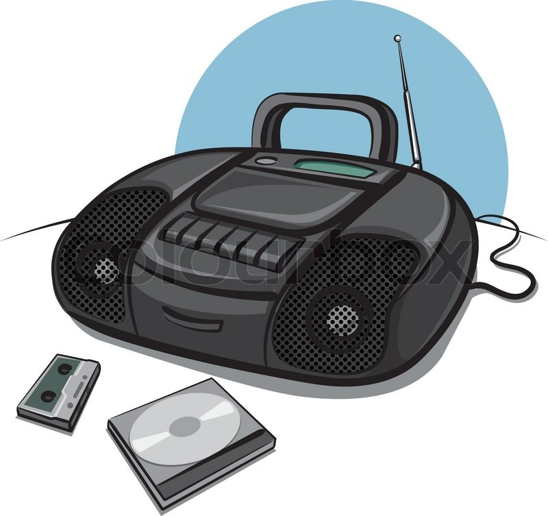 Portable tape recorder with CD player | Vector | Colourbox