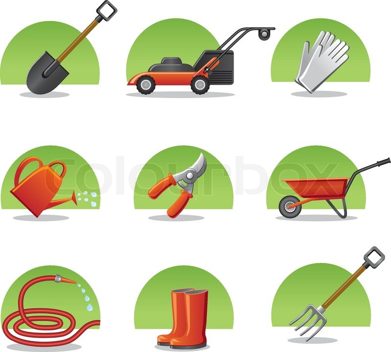 Web icons garden tools stock vector colourbox for Garden hand tools names