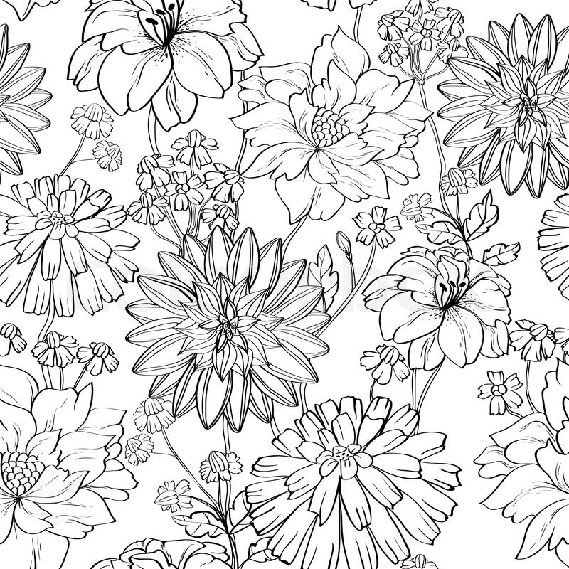 Line Art Design Background : Flower drawing sketch stock vector colourbox