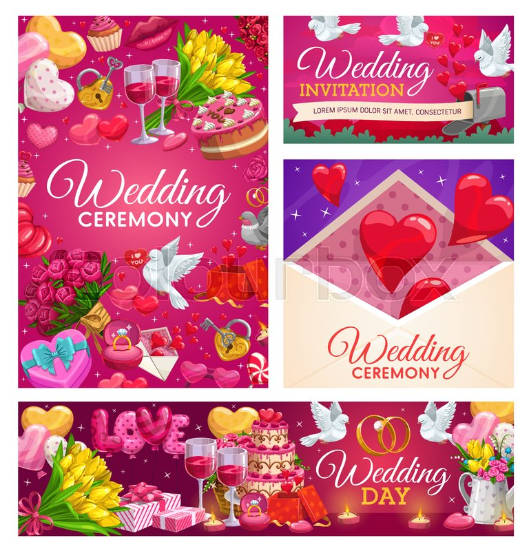 Wedding Gifts Love Hearts Bride And Stock Vector Colourbox