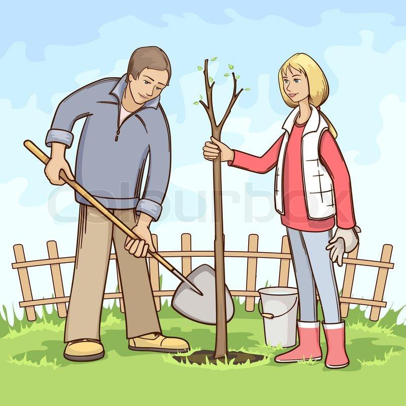 Planting Trees Cartoon Planting Tree Vector
