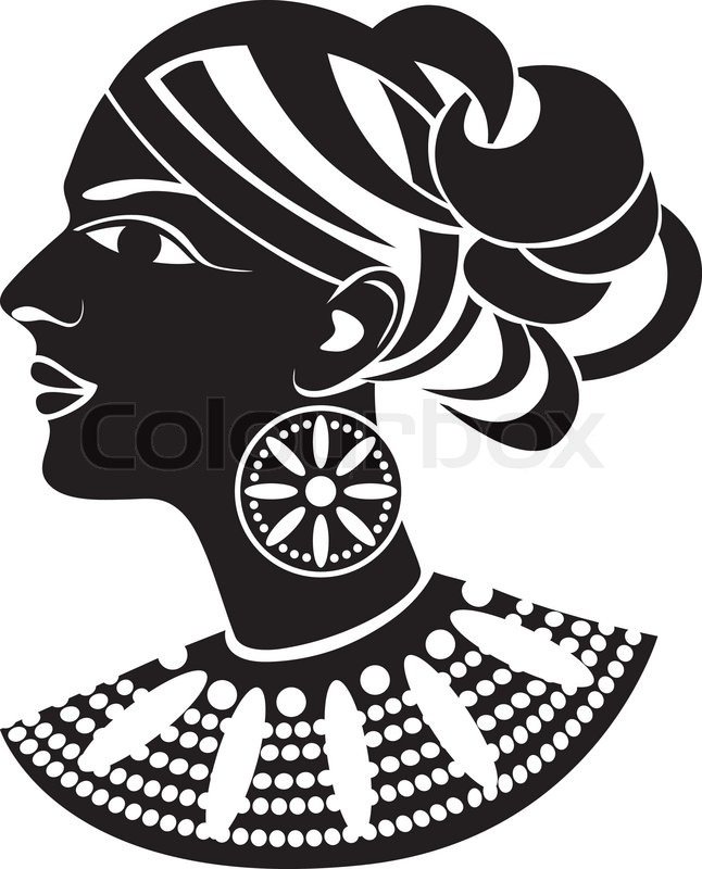 Female profile in african style stencil vector colourbox