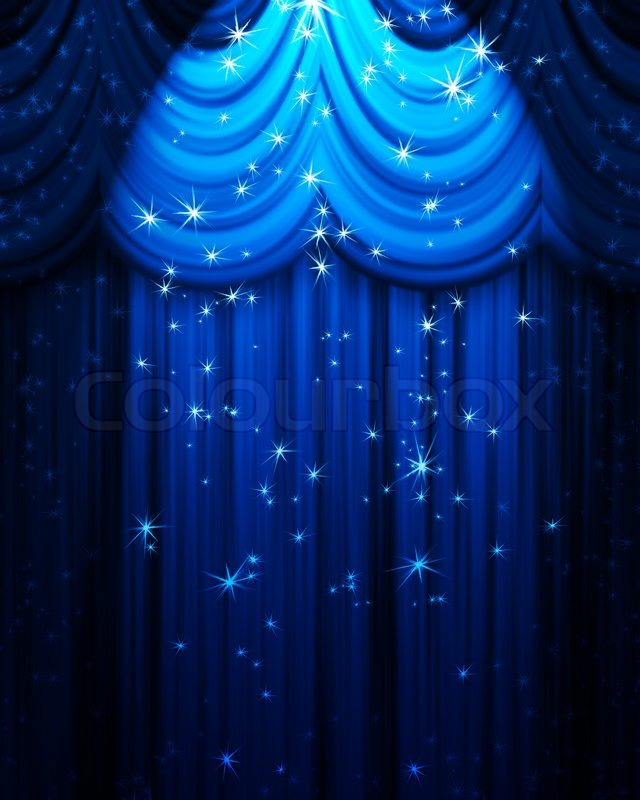 Blue theatre curtain with spotlight and | Stock image | Colourbox