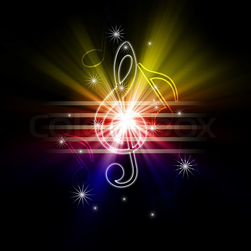 Glowing Musical Symbols Stock Photo Colourbox