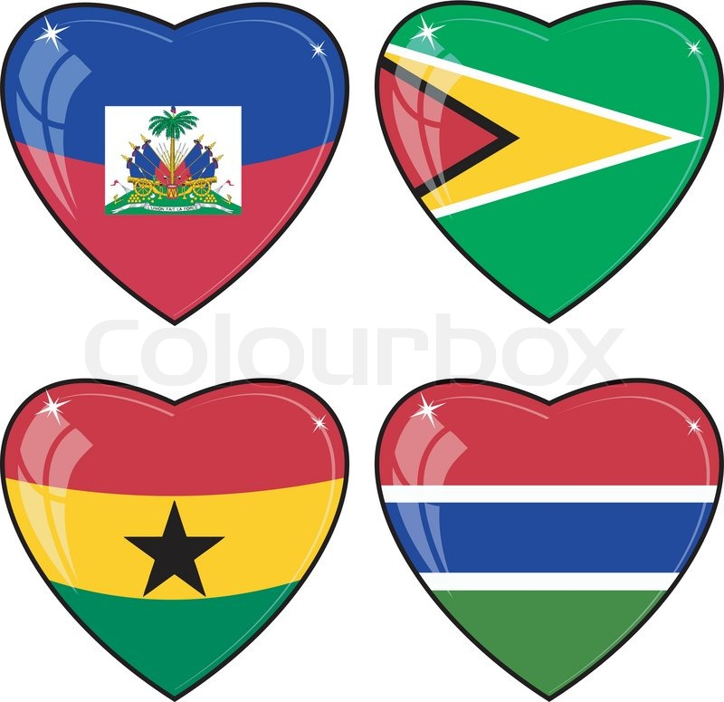 Set Of Vector Images Of Hearts With The Flags Of Guyana Haiti