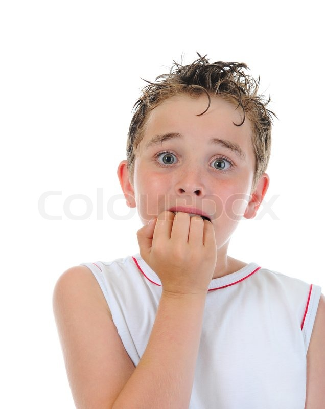 Portrait of a frightened boy | Stock Photo | Colourbox
