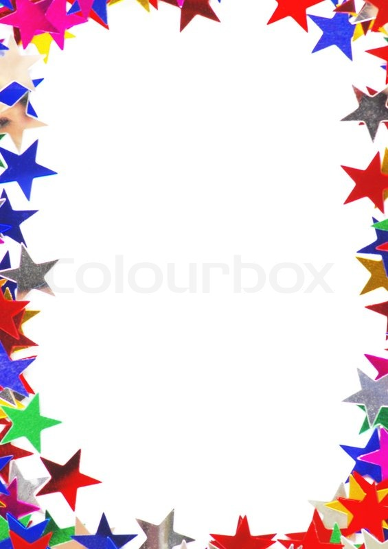 Star shaped confetti of different colors frame   Stock Photo   Colourbox
