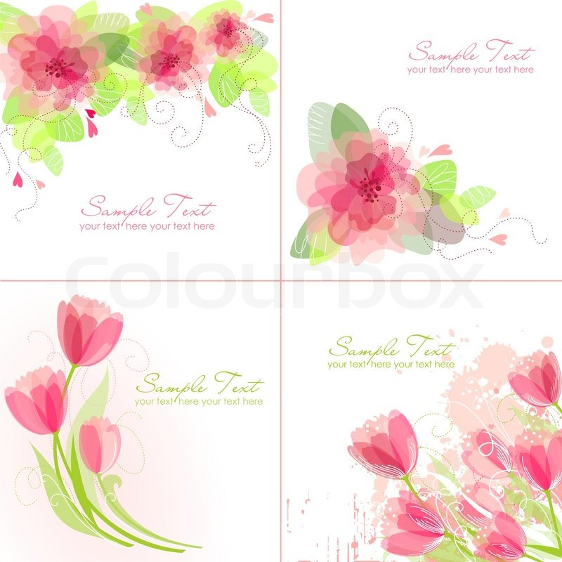 Set of 4 Romantic Flower Backgrounds in pink and white colours Ideal