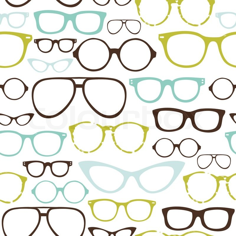 Glasses Frames Vector : Retro Seamless spectacles Stock Vector Colourbox