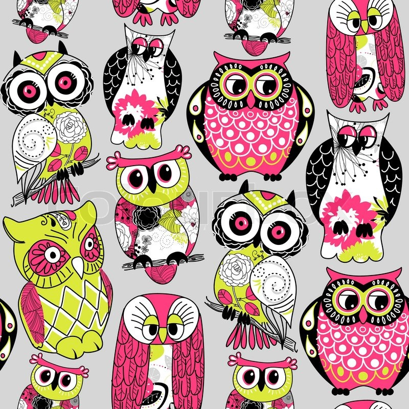Stock vector illustration seamless and colourful owl pattern stock vector illustration seamless and colourful owl pattern vector voltagebd Gallery