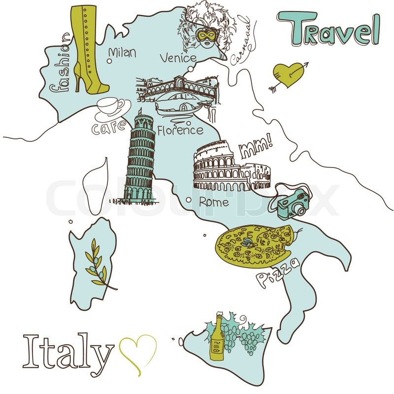 Map Of Italy For Tourists.Creative Map Of Italy Stock Vector Colourbox