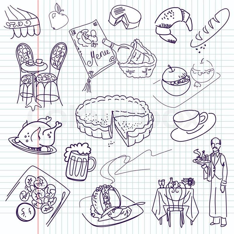 Food Doodles Elegant Cuisine Stock Vector Colourbox