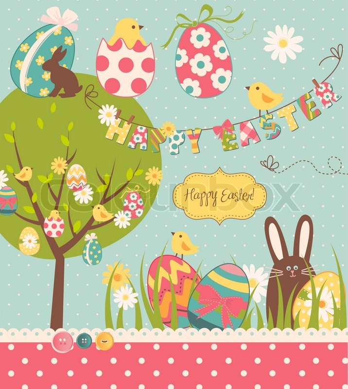 Easter extravaganza big easter set with cute chocolate rabbit easter extravaganza big easter set with cute chocolate rabbit colourful eggs chicks easter tree and a clothesline with letters on it ideal for negle Image collections