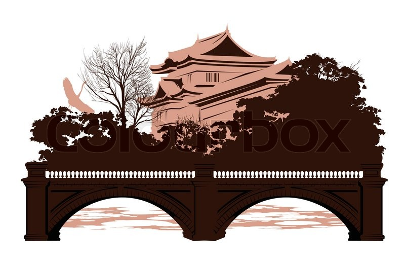 Postcard With Japanese Houses And A Bridge Vector