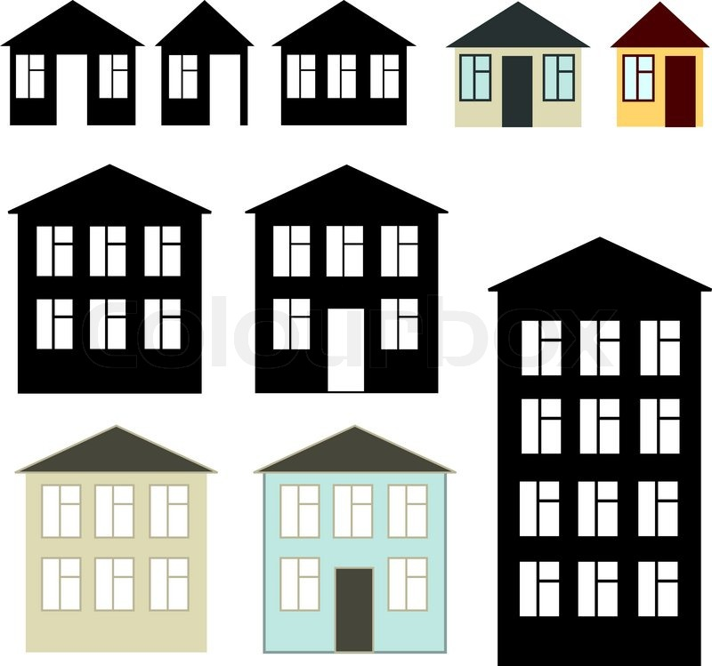 Simple Buildings Set Stock Vector Colourbox