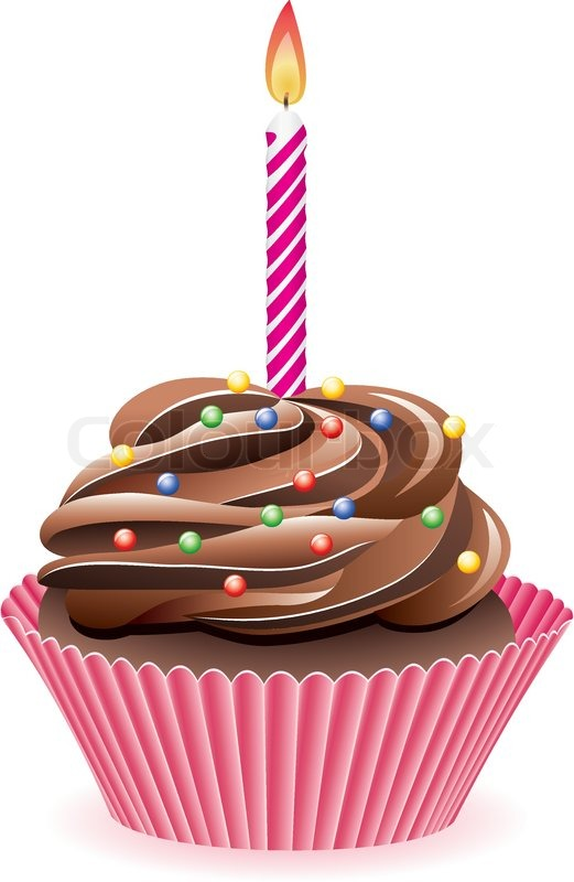 Vector Chocolate Cupcake With Burning Candle Stock