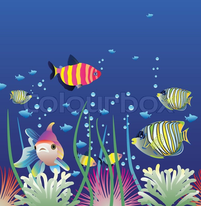 vector aquarium and colorful fishes stock vector colourbox seaweed vector background seaweed vector free