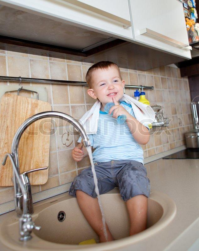 Little Boy Washing Dishes Funny Little Child Boy Washing
