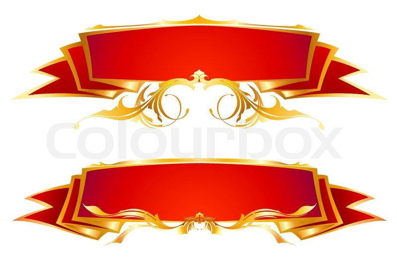 Set of red ribbon banners | Stock Vector | Colourbox